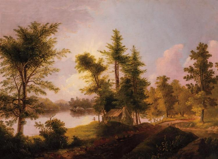 THOMAS DOUGHTY, American (1793-1856), Landscape with Pine Trees and House, oil on canvas, unsigned., 22 x 30 inches