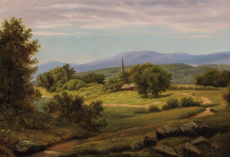 WILLIAM TROST RICHARDS (Attributed), American (1833-1905), A Sunny Morning Stroll in the Country, oil on canvas, unsigned., 14 x 20...