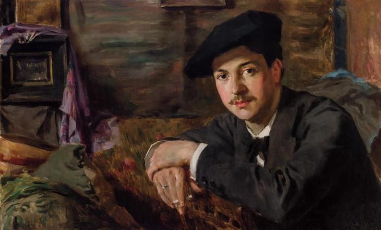 F. LUIS MORA, American (1874-1940), Self Portrait, oil on canvas, signed lower right and dated ''97., 22 x 35 1/2 inches
