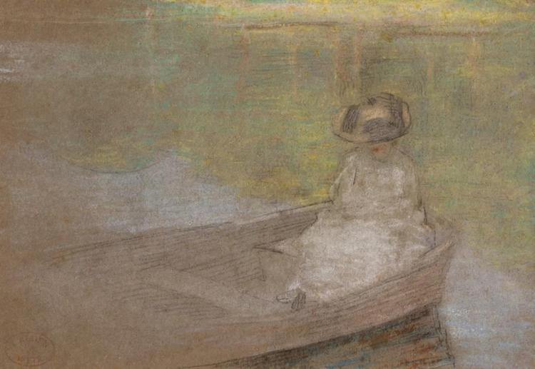JULIAN ALDEN WEIR, American (1852-1919), Woman in a Boat, pastel on paper, artist''s stamp lower left., 6 1/2 x 9 1/2 inches (sight)