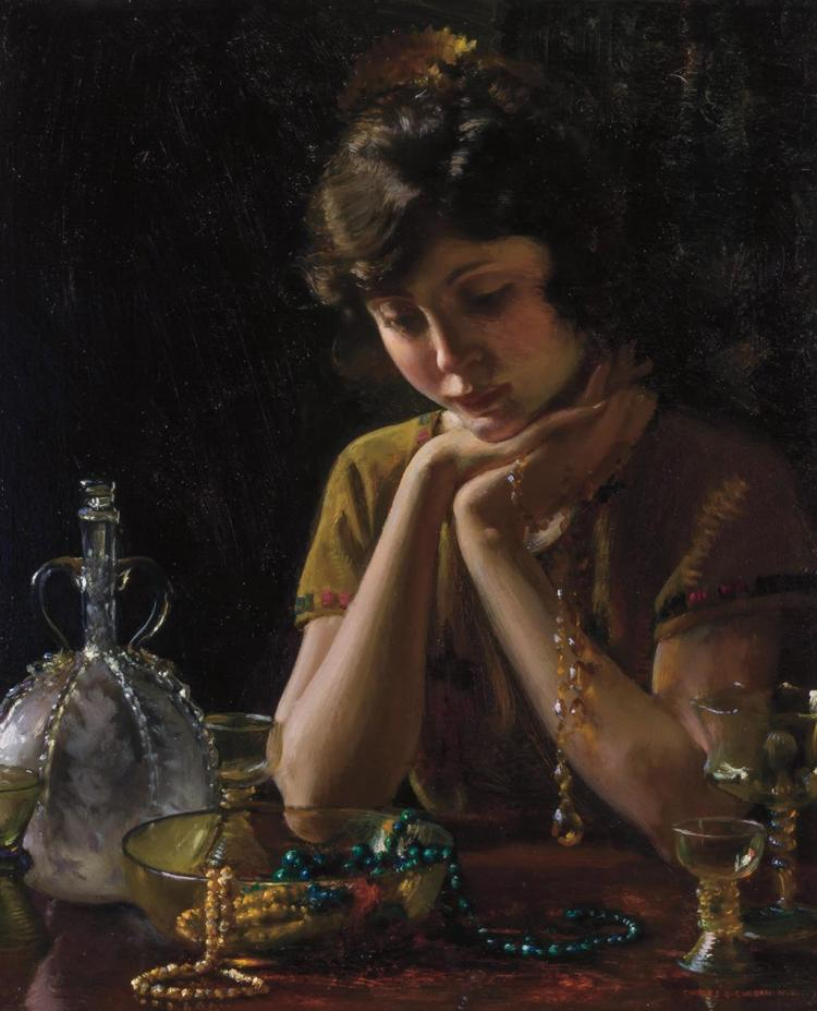 CHARLES COURTNEY CURRAN, American (1861-1942), Heirlooms, oil on canvas, signed lower right, signed and numbered