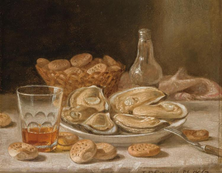 JOHN F. FRANCIS, American (1808-1886), (A Pair) Still Life with Oysters, Whiskey and Biscuits Still Life with Grapes and Apples , oi...
