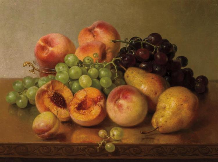 ROBERT SPEAR DUNNING, American (1829-1905), Still Life with Peaches, Pears and Grapes, oil on canvas, signed and dated