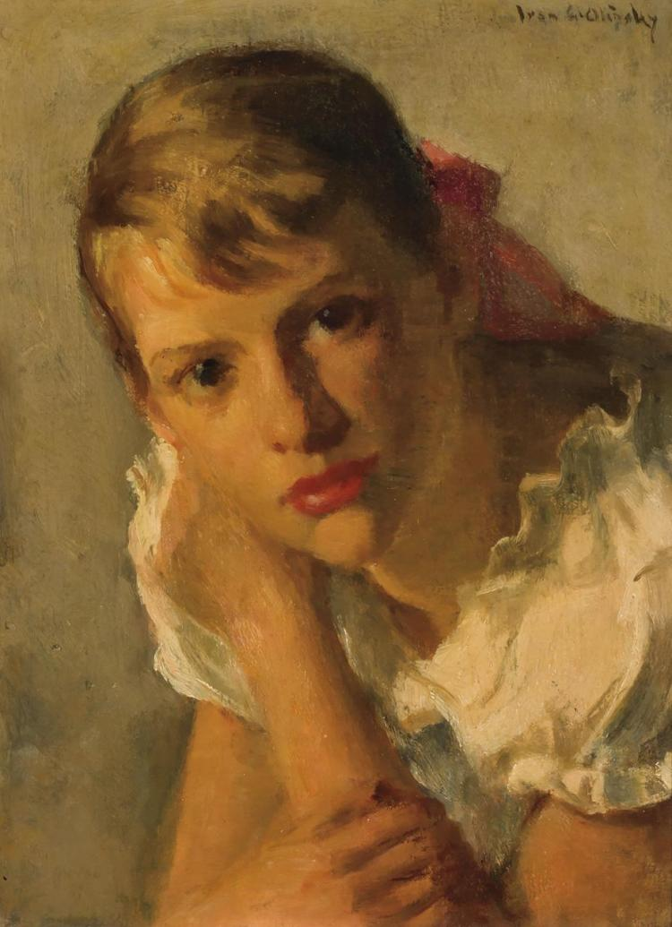 IVAN OLINSKY, American/Russian (1878-1962), Girl with a Red Bow, oil on board, signed upper right., 12 x 9 inches
