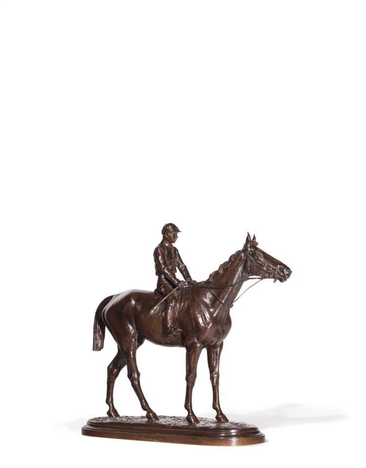 ISIDORE JULES BONHEUR, French (1827-1901), Jockey on Horse, bronze, signed and inscribed