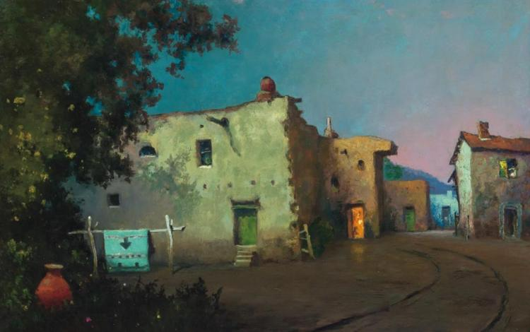WILL SPARKS, American (1862-1937), Adobe Village, Moonlight, oil on canvas, unsigned, dated