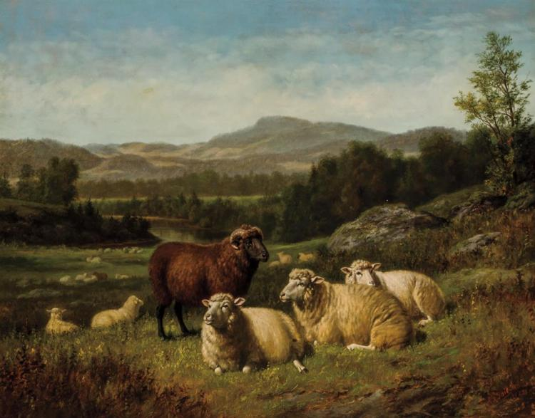 ARTHUR FITZWILLIAM TAIT, American (1819-1905), Sheep Resting in Rocky Landscape, oil on canvas, signed, inscribed