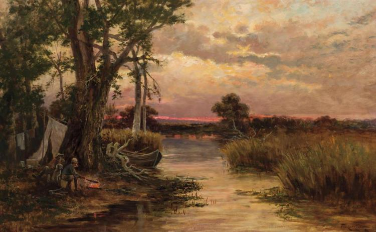 FEODOR VON LUERZER, Austrian/American (1851-1913), Camp on Lake Coeur D'Alene, oil on canvas, signed and dated indistinctly lower ri...