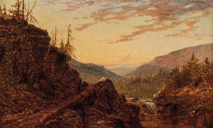 ALFRED THOMPSON BRICHER, American (1837-1908), River Landscape with Waterfall, oil on board, signed