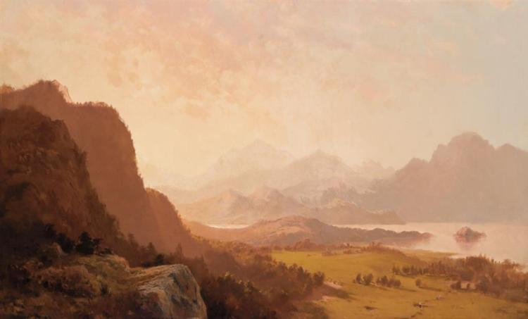 JOHN WILLIAMSON, American (1826-1885), Luminist Vista, oil on canvas, initialed lower left., 22 x 36 inches