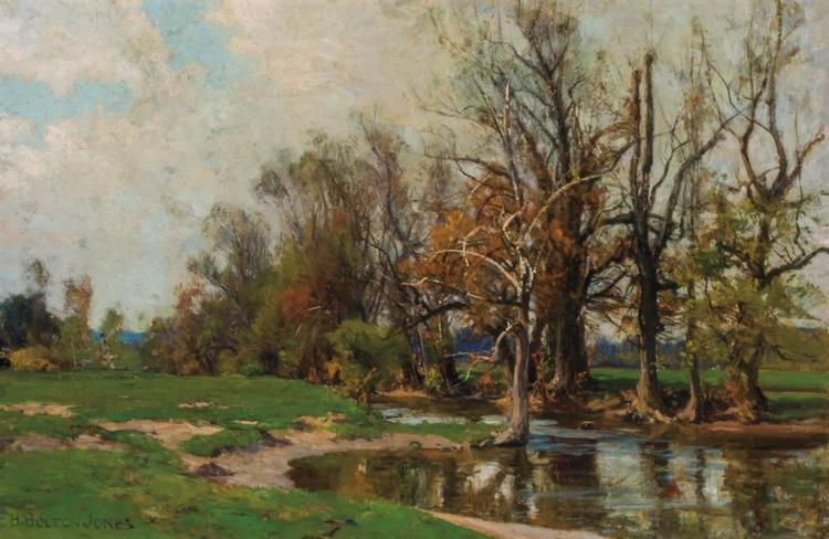 HUGH BOLTON JONES, American (1848-1927), Fall Landscape, oil on canvas, signed lower right., 16 1/4 x 24 inches