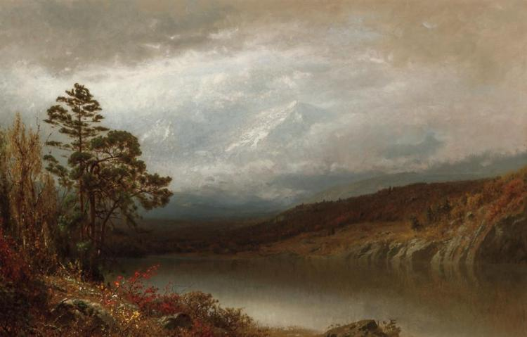 ALEXANDER HELWIG WYANT, American (1836-1892), Autumn in the Adirondacks, oil on canvas, signed lower center., 20 x 30 inches