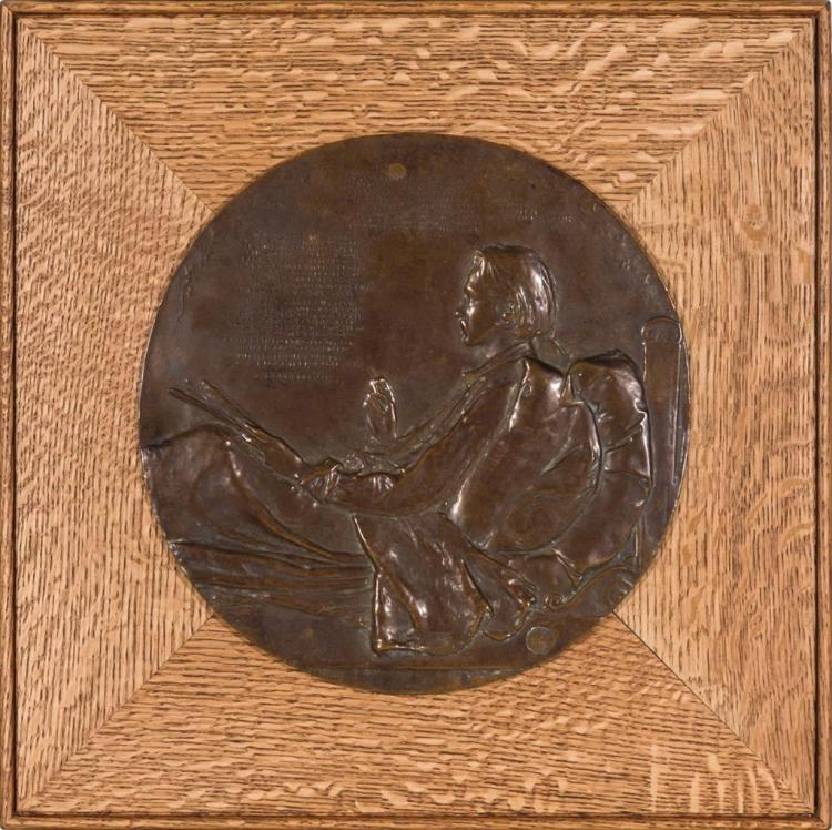 AUGUSTUS SAINT-GAUDENS, American (1848-1907), Portrait of Robert Louis Stevenson, bronze, signed upper right, copyright stamp