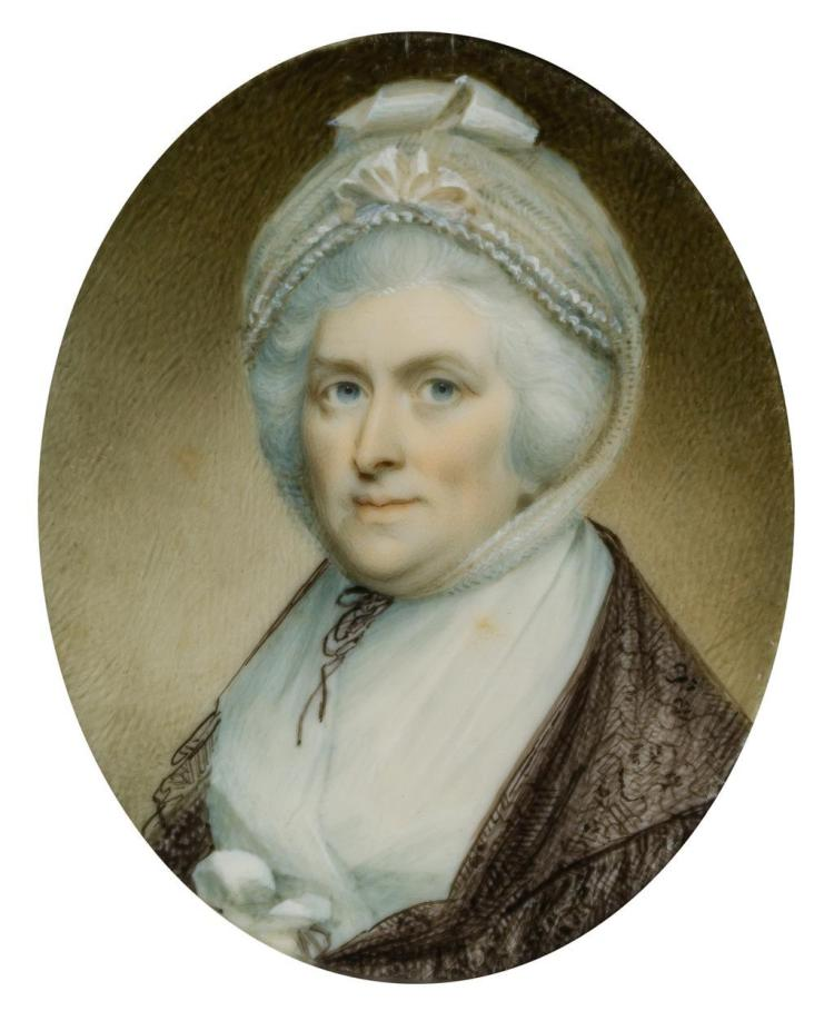 WALTER ROBERTSON, Irish (active in America, 1793-1796), Portrait of Martha Washington, watercolor, unsigned., 2 3/8 x 1 7/8 inches