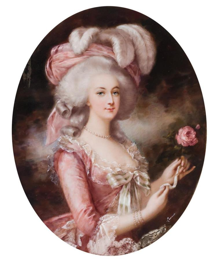 JEAN ANTOINE LAURENT, French (1763-1832), Portrait of Marie Antoinette, After Elizabeth Vigee Lebrun, watercolor, signed lower right...