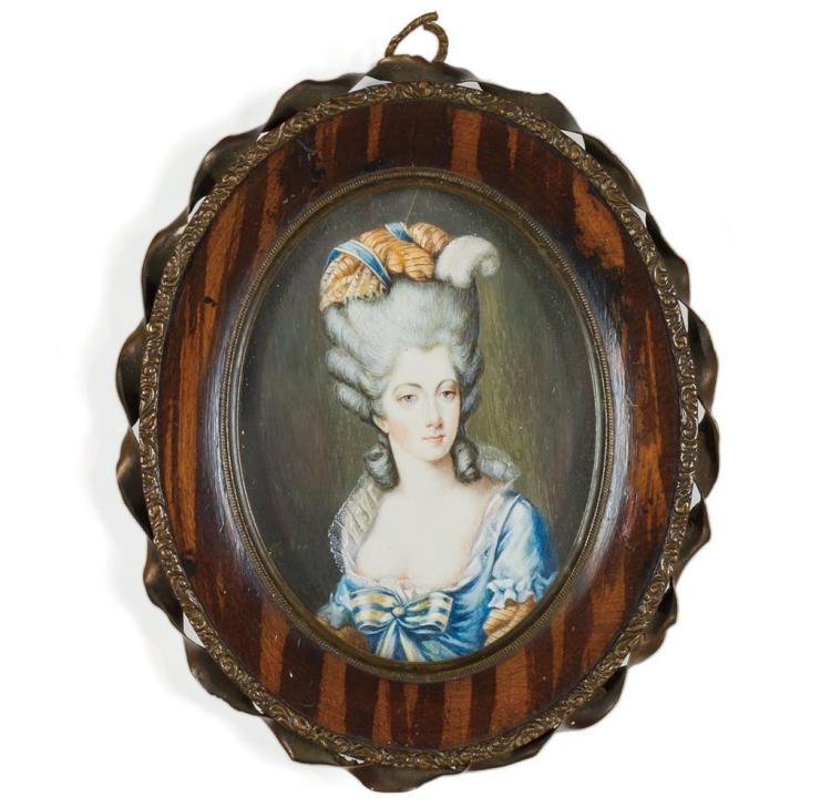 WILLIAM PETHER, British (c. 1738-1821), Marie-Joséphine-Louise de Savoie, Comtesse de Provence, watercolor, signed lower left., 4 x...