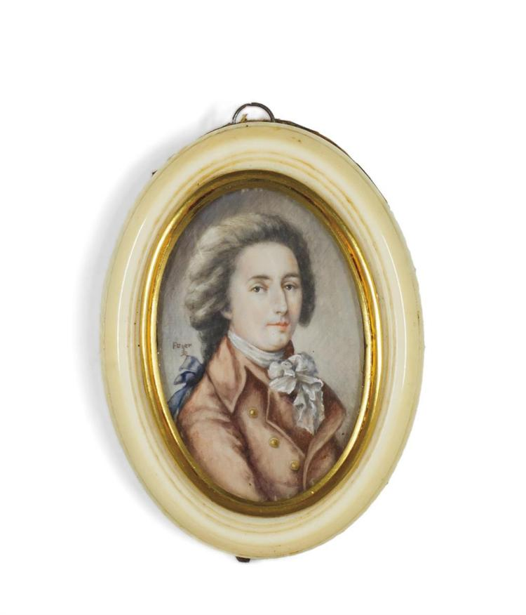 FRIEDRICH HEINRICH FUGER, German (1751-1818), Portrait of a Gentleman, watercolor, signed., 2 1/4 x 1 1/2 inches
