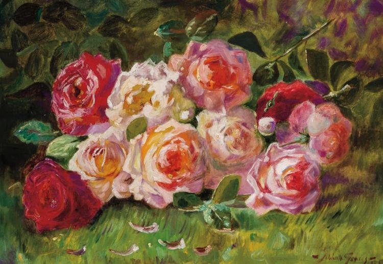 ABBOTT FULLER GRAVES, American (1859-1936), Still Life with Roses, oil on canvas, signed lower right., 14 x 20 inches