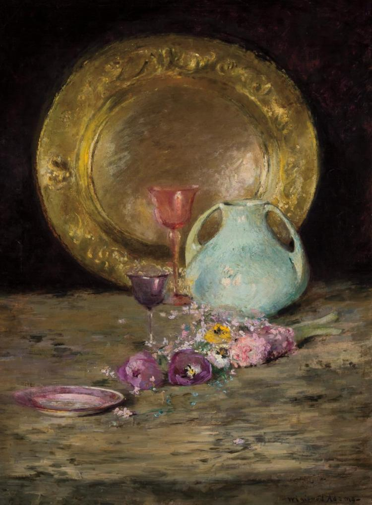 WINIFRED ADAMS, American (1871-1955), Still Life with Plate, Pitcher and Flowers, oil on canvas, signed lower right., 29 1/4 x 22 in...