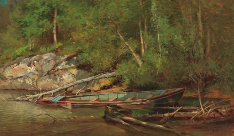 WORTHINGTON WHITTREDGE, American (1820-1910), The Old Canoe, oil on canvas, unsigned., 11 3/4 x 19 7/8 inches