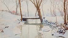 WALTER LAUNT PALMER, American (1854-1932), Bridge in Winter, watercolor on paper, signed lower left., 14 1/2 x 24 1/2 inches