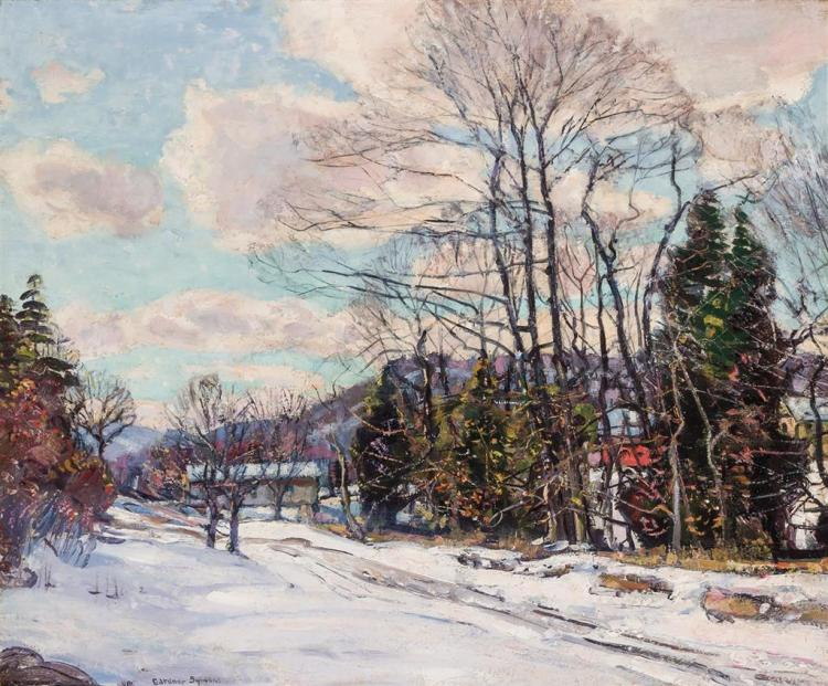 GEORGE GARDNER SYMONS, American (1863-1930), New England Winter, oil on canvas, signed lower left., 25 x 30 inches