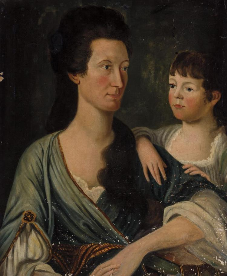 CONTINENTAL SCHOOL , 18th Century (probably), Portrait of Mother and Child, oil on canvas on board, unsigned., 28 1/4 x 19 inches