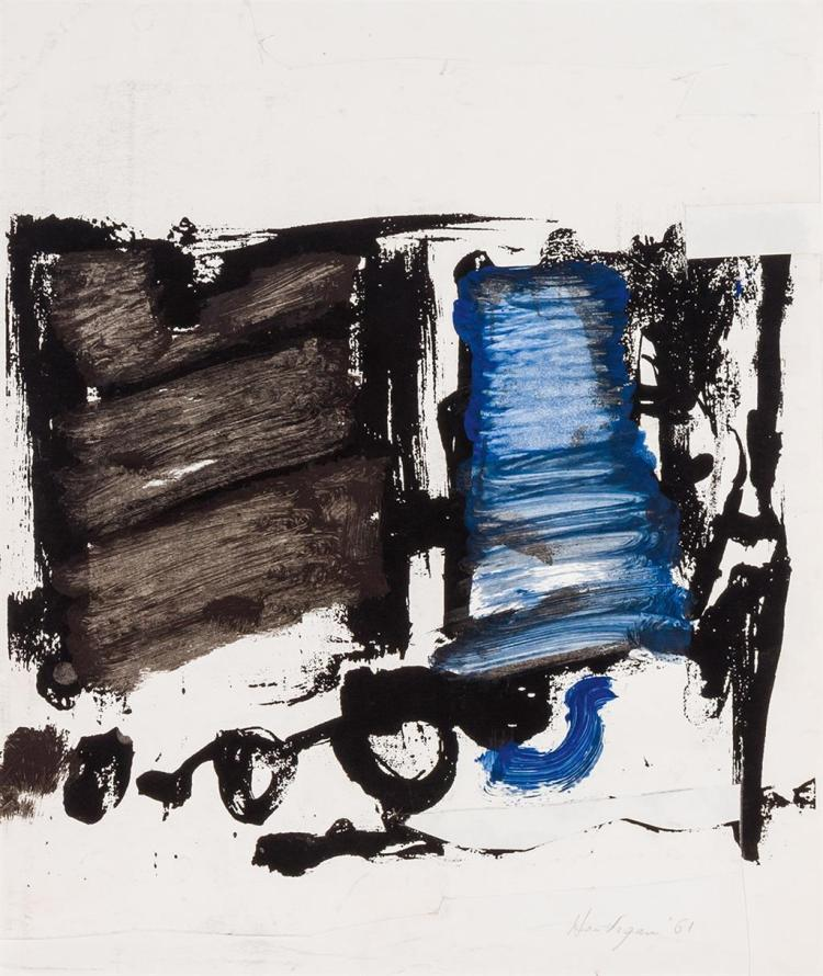 GRACE HARTIGAN, American (1922-2008), Two Untitled Abstract Collages, (a) collage, ink and acrylic on paper, 7 1/2 x 14 1/2 inches ,...