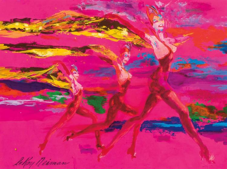 LEROY NEIMAN, American (1921-2012), Chorus Girls, acrylic on board, signed lower left., 18 x 23 5/8 inches