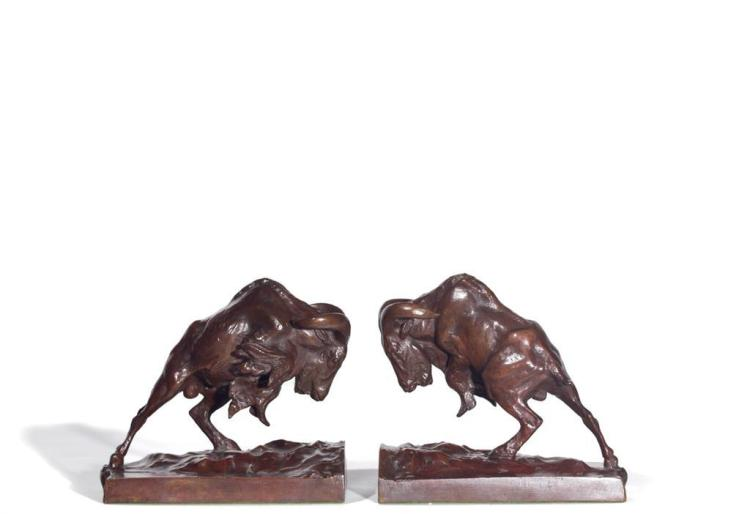 ANNA HYATT HUNTINGTON, American (1876-1973), Charging Mountain Goats, Bookends, bronze, signed, numbered