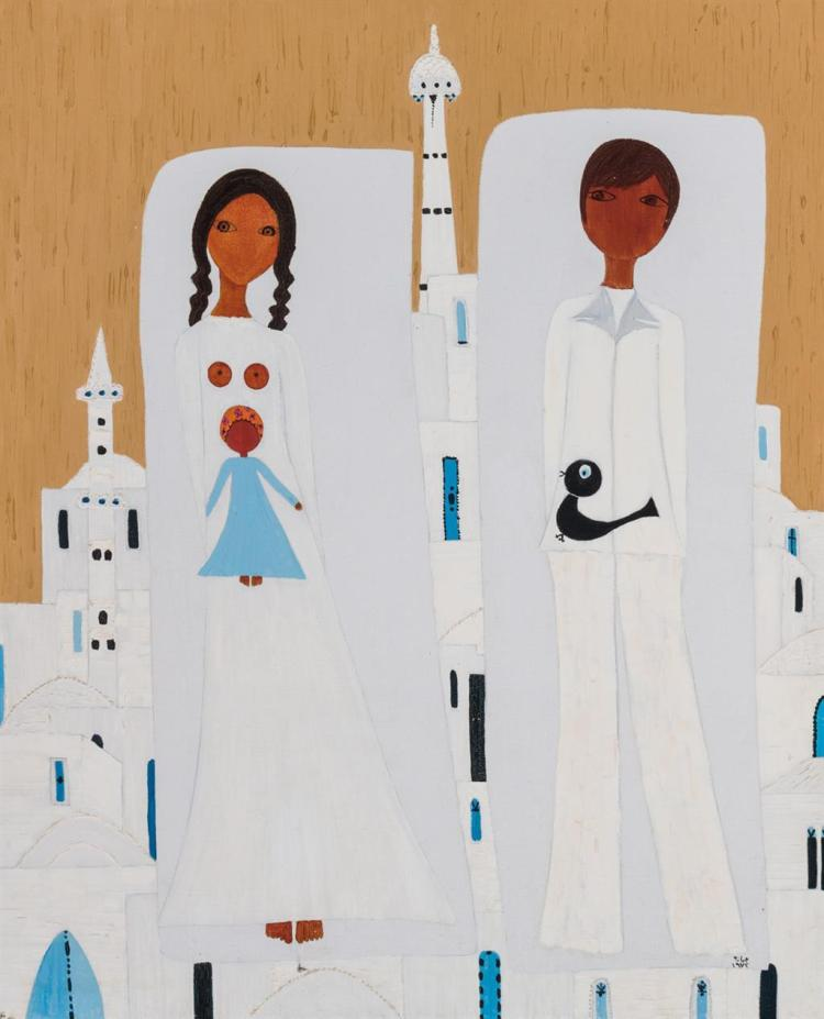 JUMANA EL HUSSEINI, Palestinian (b. 1932), Palestinian Couple, oil on canvas, signed and dated lower right, signed