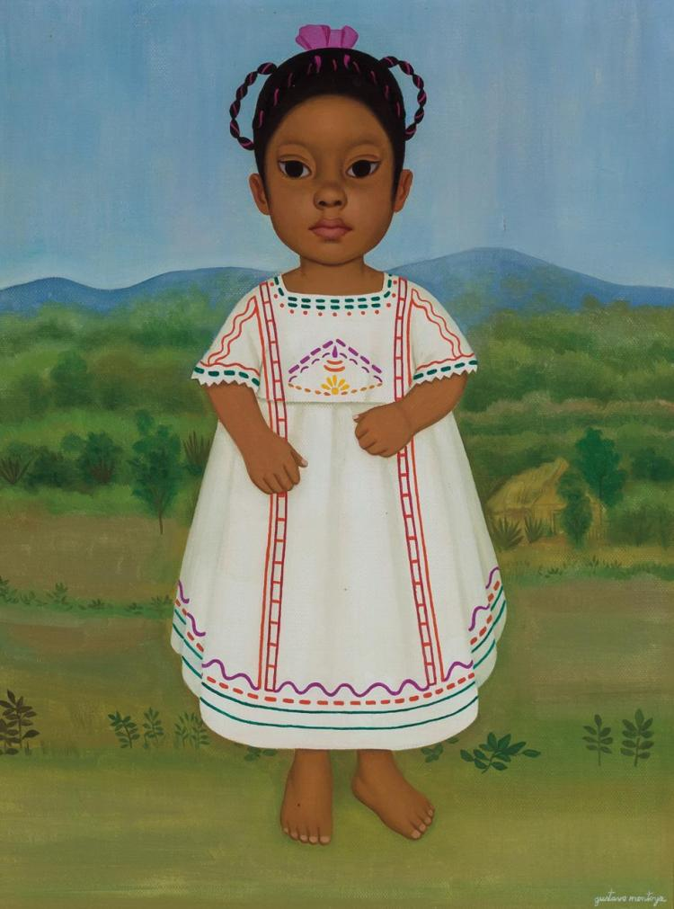 GUSTAVO MONTOYA, Mexican (1905-2003), Ñina Chiapaneca, oil on canvas, signed lower right, signed, titled, inscribed