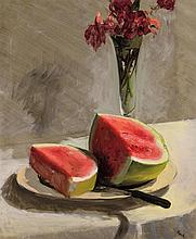 JOHN KOCH, American (1909-1978), Still Life with Watermelon and Roses, oil on canvas, signed lower right, inscribed