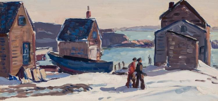 GIFFORD BEAL, American (1879-1956), Fish Houses, Winter Day, circa 1928, oil on board, unsigned., 10 1/4 x 20 1/2 inches
