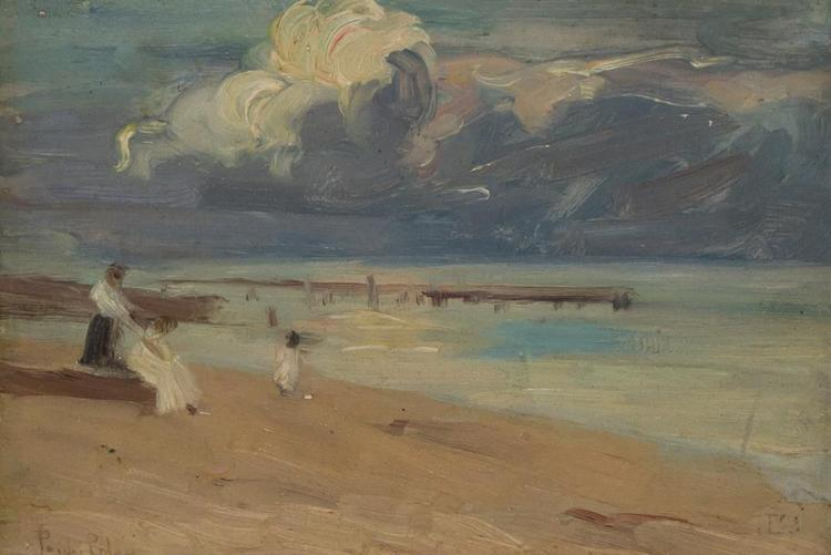 PAULINE LENNARDS PALMER, American (1867-1938), At the Beach, oil on board, signed lower left., 5 3/8 x 7 7/8 inches (sight)