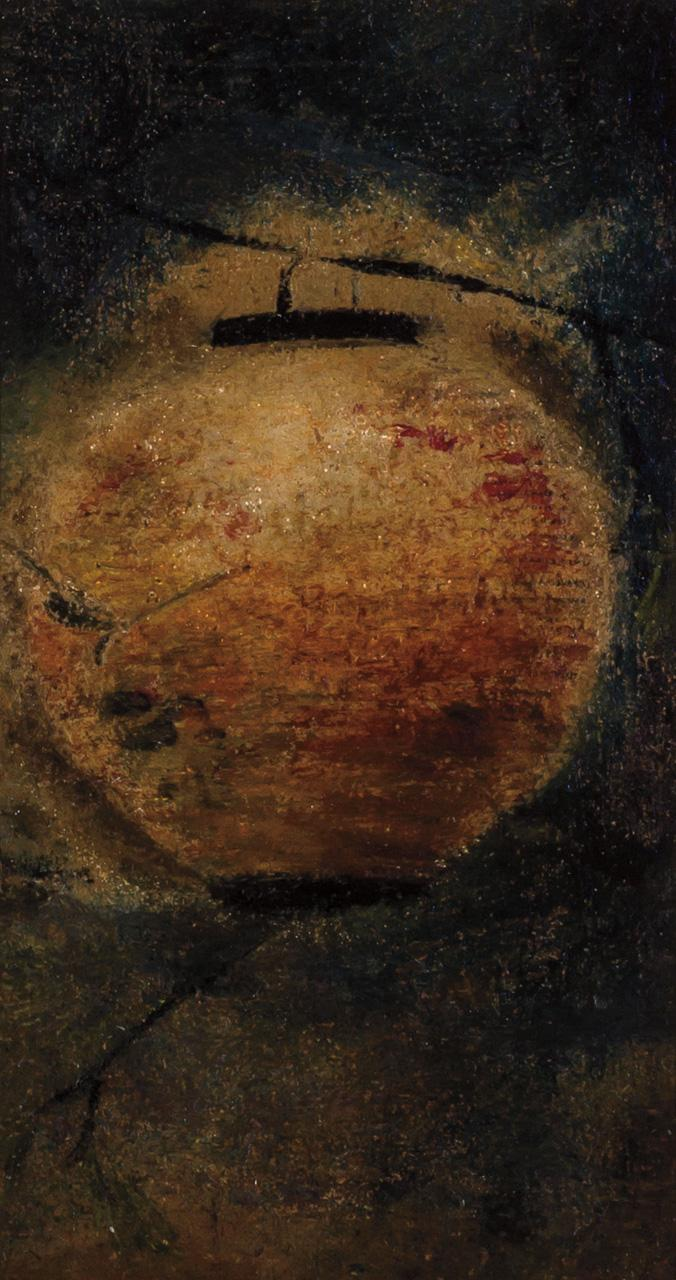 RALPH ALBERT BLAKELOCK, American (1847-1919), Japanese Lantern, paper laid down on panel, unsigned., 7 x 3 7/8 inches