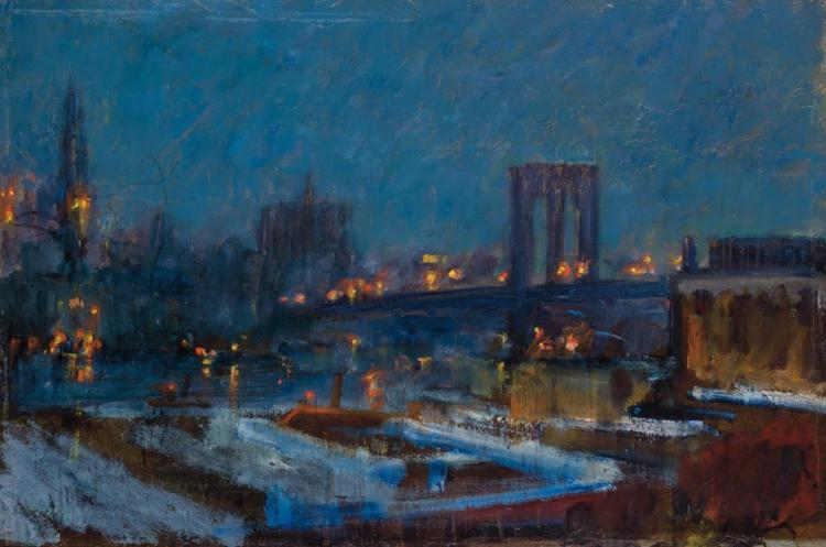 RUDOLF SCHEFFLER, German (1884-1973), The East River and Brooklyn Bridge, oil on canvas, signed lower left., 13 x 19 inches
