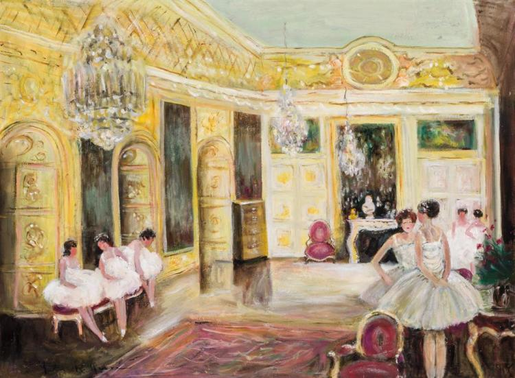 JULES RENE HERVE, French (1887-1981), Ballerinas, oil on canvas, signed lower right, signed on the reverse., 23 1/2 x 32 inches