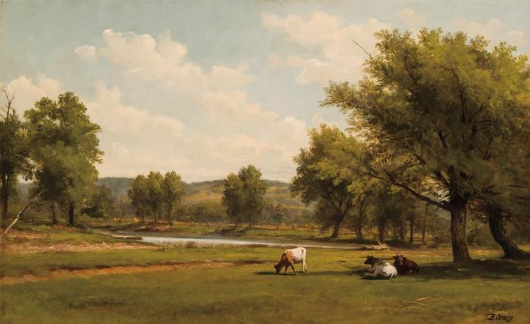 THOMAS BIGELOW CRAIG (Attributed), American (1849-1924), Landscape with Cattle, oil on board, bears signature lower right and on the...