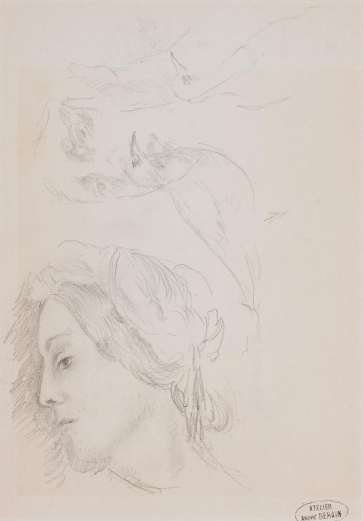 ANDRE DERAIN, French (1880-1957), (A Pair) Portrait Study of Heads Figure Study , (a) pencil on paper, (b) charcoal on paper, stampe...