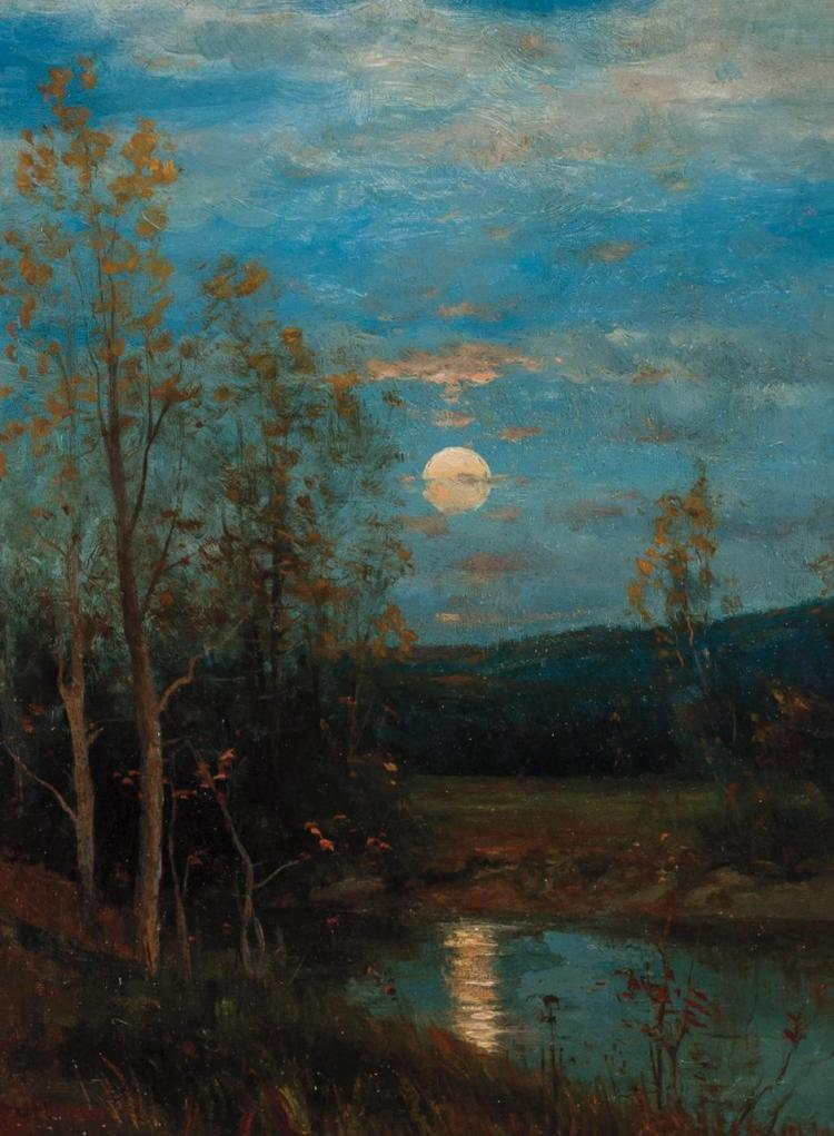 DWIGHT WILLIAM TRYON, American (1849-1925), Fall Sunset, oil on academy board, signed lower left., 12 x 9 inches
