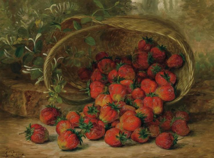 AUGUST LAUX, American (1847-1921), Strawberries, oil on canvas, signed lower left., 12 x 16 inches