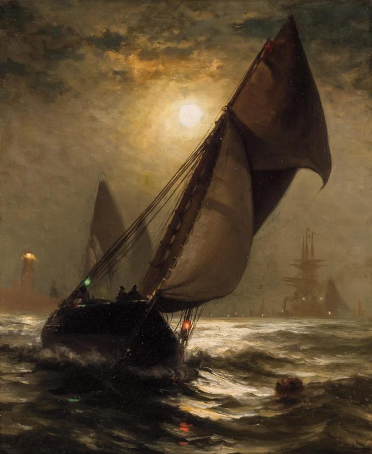 EDWARD MORAN (Attributed), American (1829-1901), Stormy Seas, oil on canvas, unsigned., 15 x 18 inches