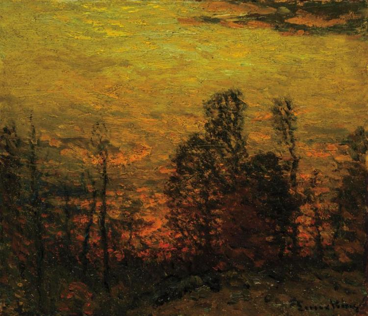 JOHN JOSEPH ENNEKING, American (1841-1916), Sunlit Landscape, oil on board, signed lower right., 12 x 14 inches