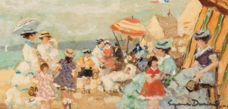 EUGENIO ALVAREZ DUMONT, Spanish (1864-1927), Ladies at the Beach, oil on canvas, signed lower right., 6 x 12 inches