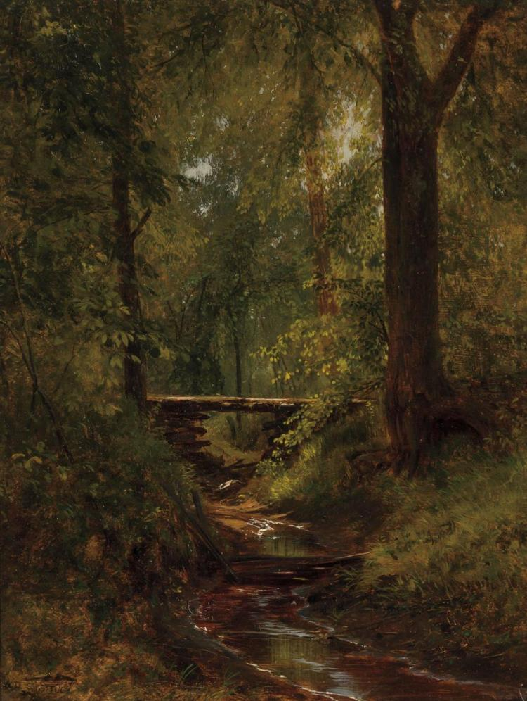 AARON DRAPER SHATTUCK, American (1832-1928), Woodland Interior, oil on canvas, estate stamped lower left., 16 x 12 1/2 inches
