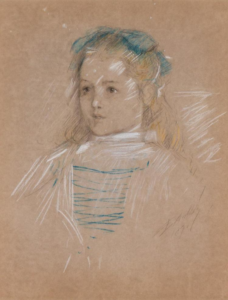 EDWIN AUSTIN ABBEY, American (1852-1911), Young Girl with Blue Bow, pastel and pencil on paper, signed and dated