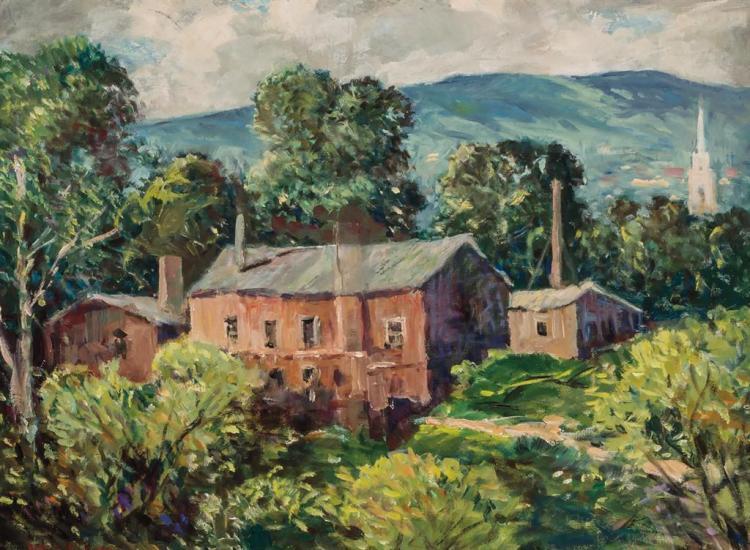 GUY CARLETON WIGGINS, American (1883-1962), Landscape, oil on board, signed lower left., 12 x 16 inches