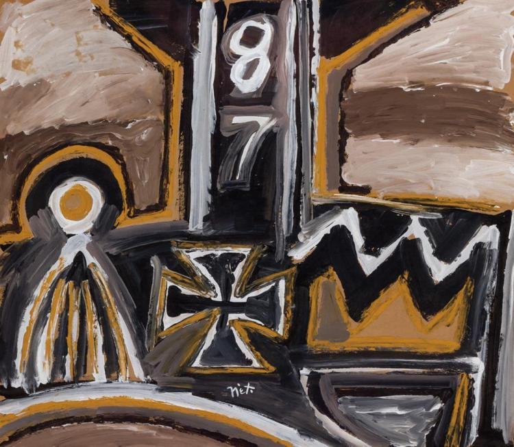 RODOLFO NIETO, Mexican (1936-1988), Untitled Abstract, oil on paper, signed lower center., 24 x 27 1/2 inches