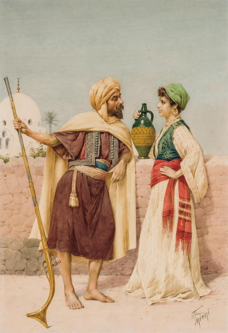 FILIPPO INDONI, Italian (c.1842- c.1908), Orientalist Scene, watercolor on paper, signed lower right., 20 1/2 x 14 (sight)